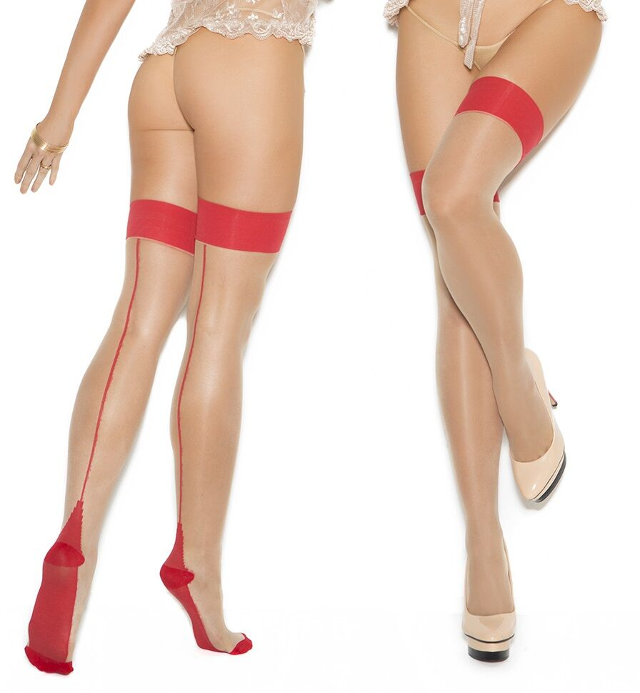 Sheer Nude Cuban Heel Thigh Highs Red Back Seam