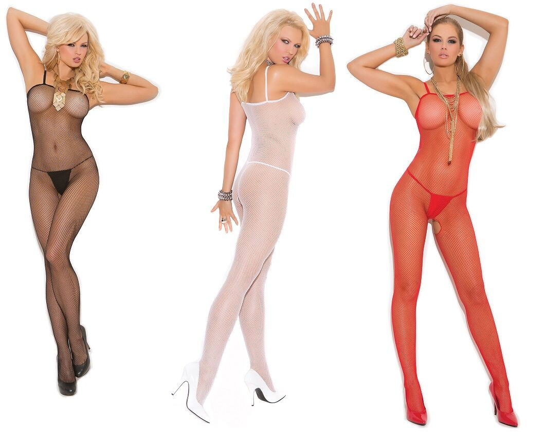 Seamless Fishnet Crotchless Strappy Bodystocking