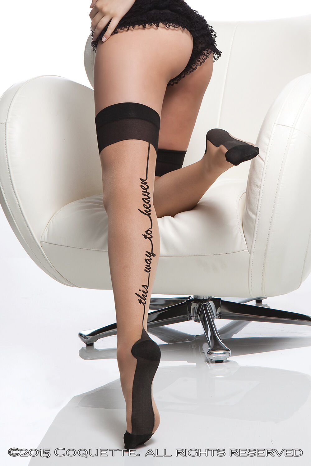'This Way To Heaven' Back Seam Stockings Cuban Heel