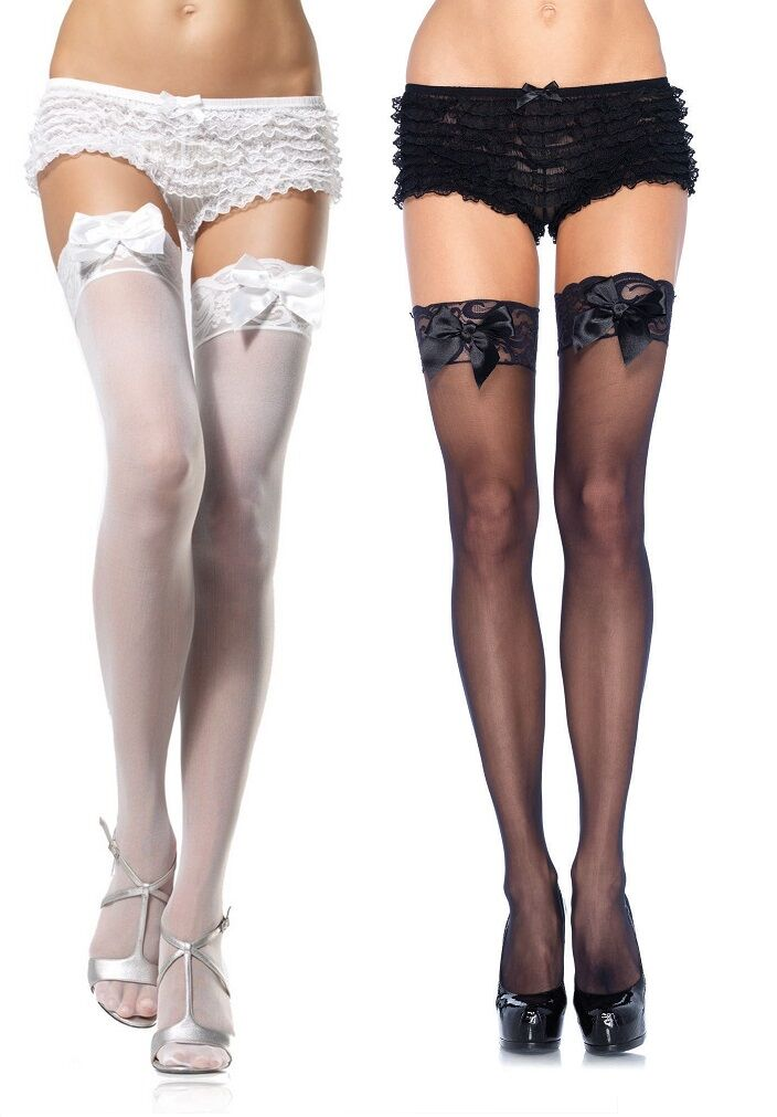 Plain Sheer Lace Top Thigh Highs with Bows