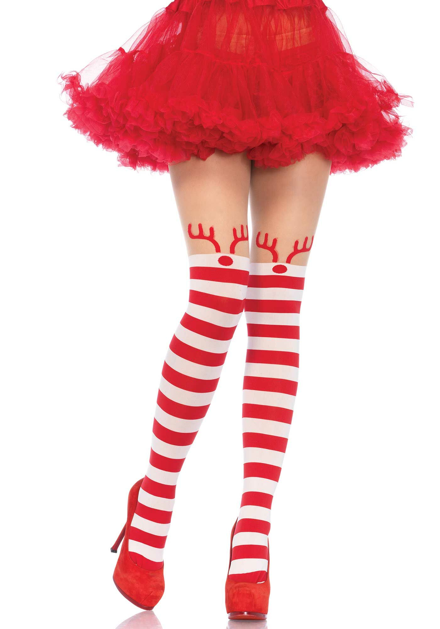 Red and White Rudolph Reindeer Christmas Tights