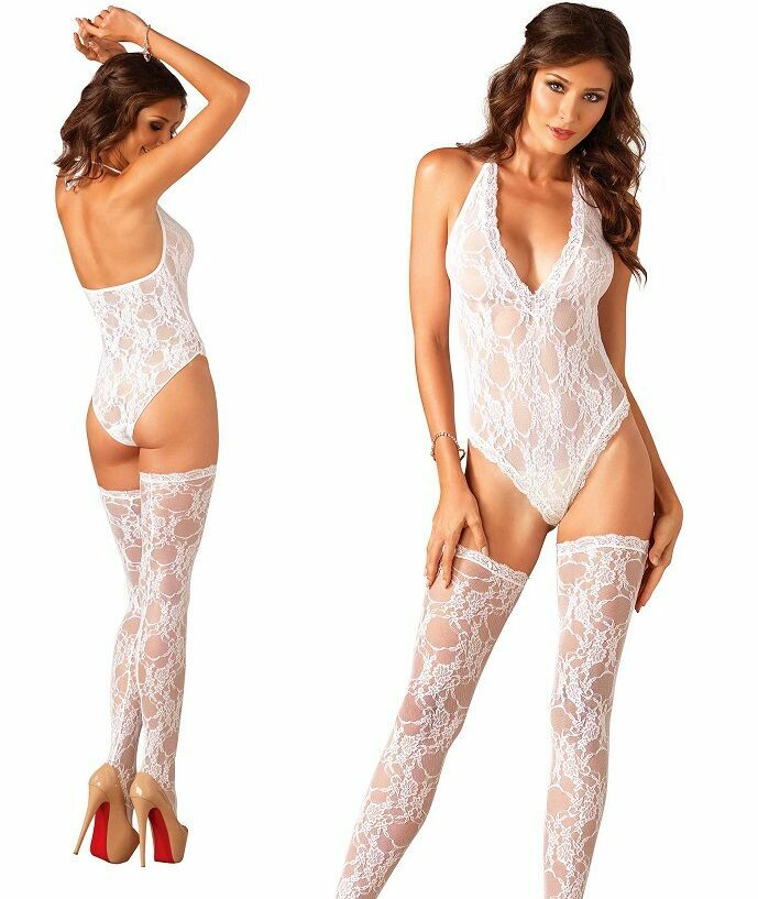 White Floral Lace Deep-V Teddy and Stockings