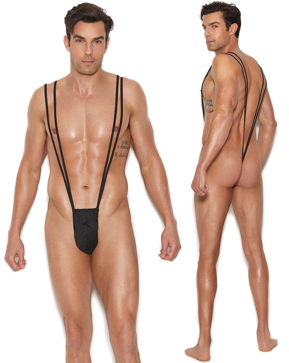 Black Suspender Pouch Mankini