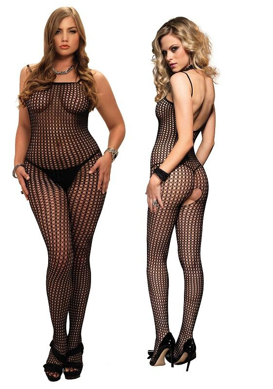 Black Crochet Crotchless Spaghetti Strap Bodystocking