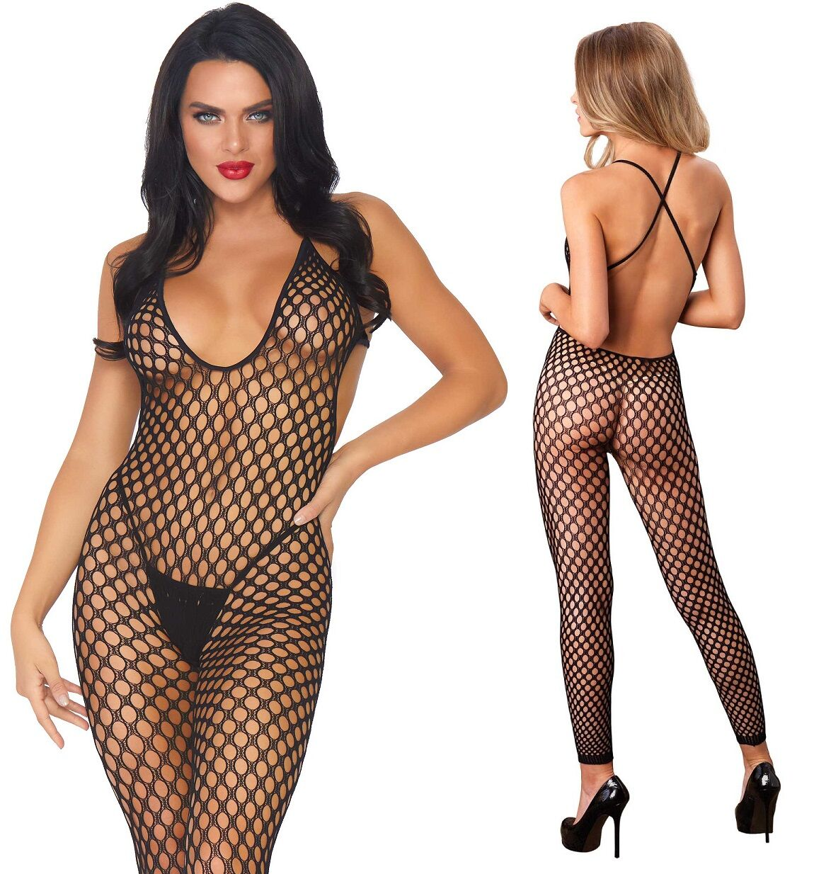 Black Crochet Footless Low Back Bodystocking