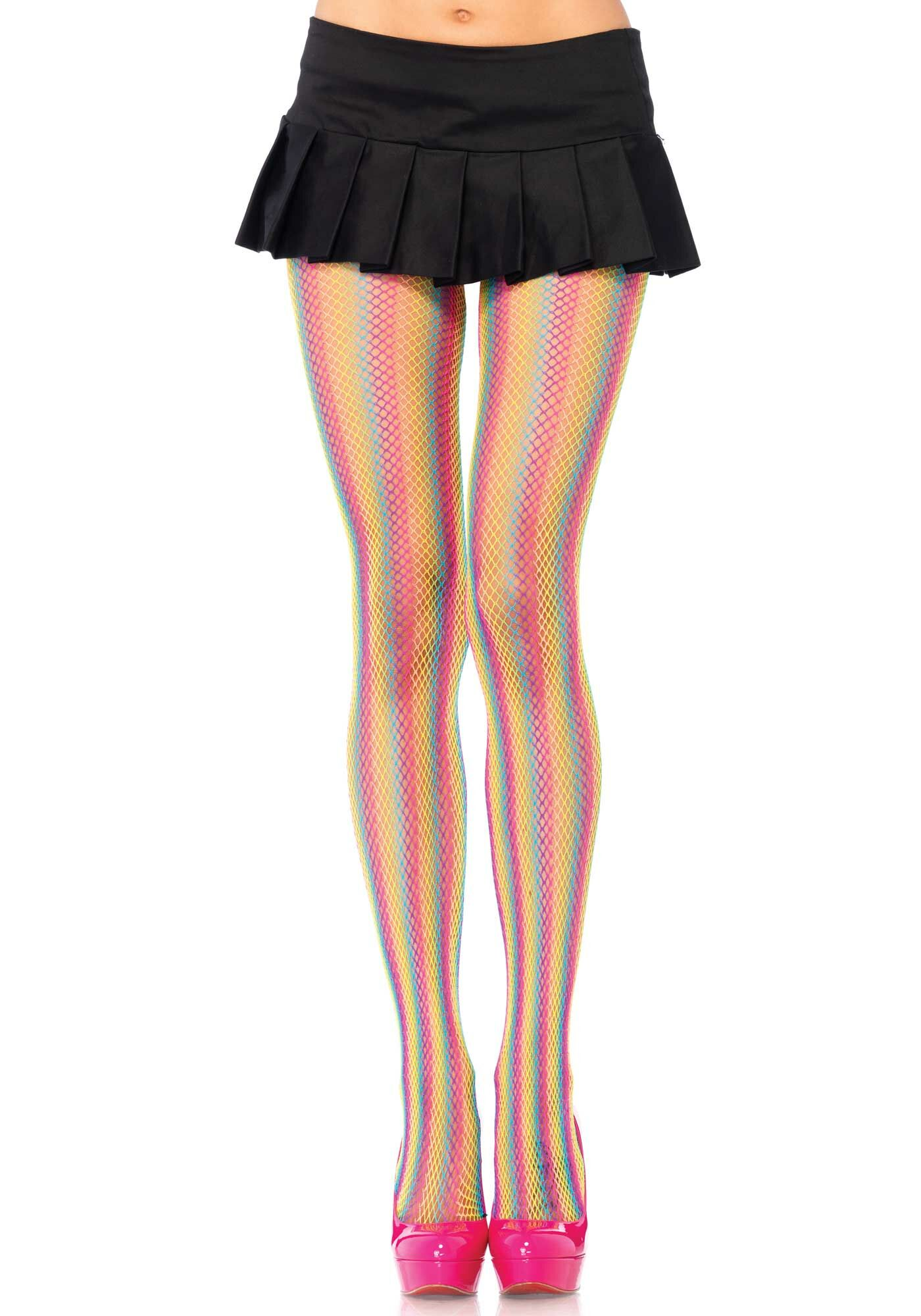 Neon Rainbow Striped Fishnet Tights