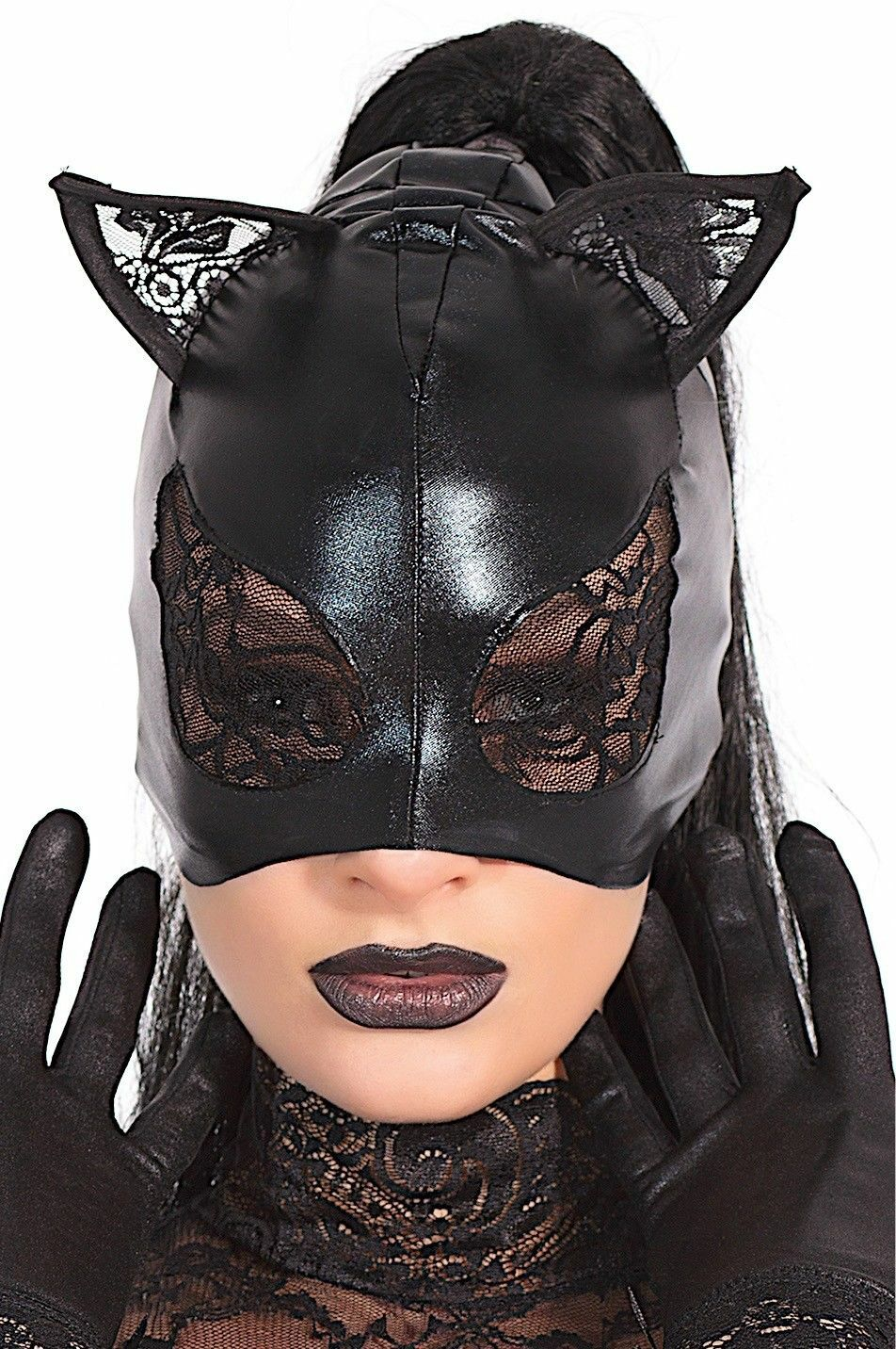 Black Wetlook Cat Mask Lace Eyes and Ears