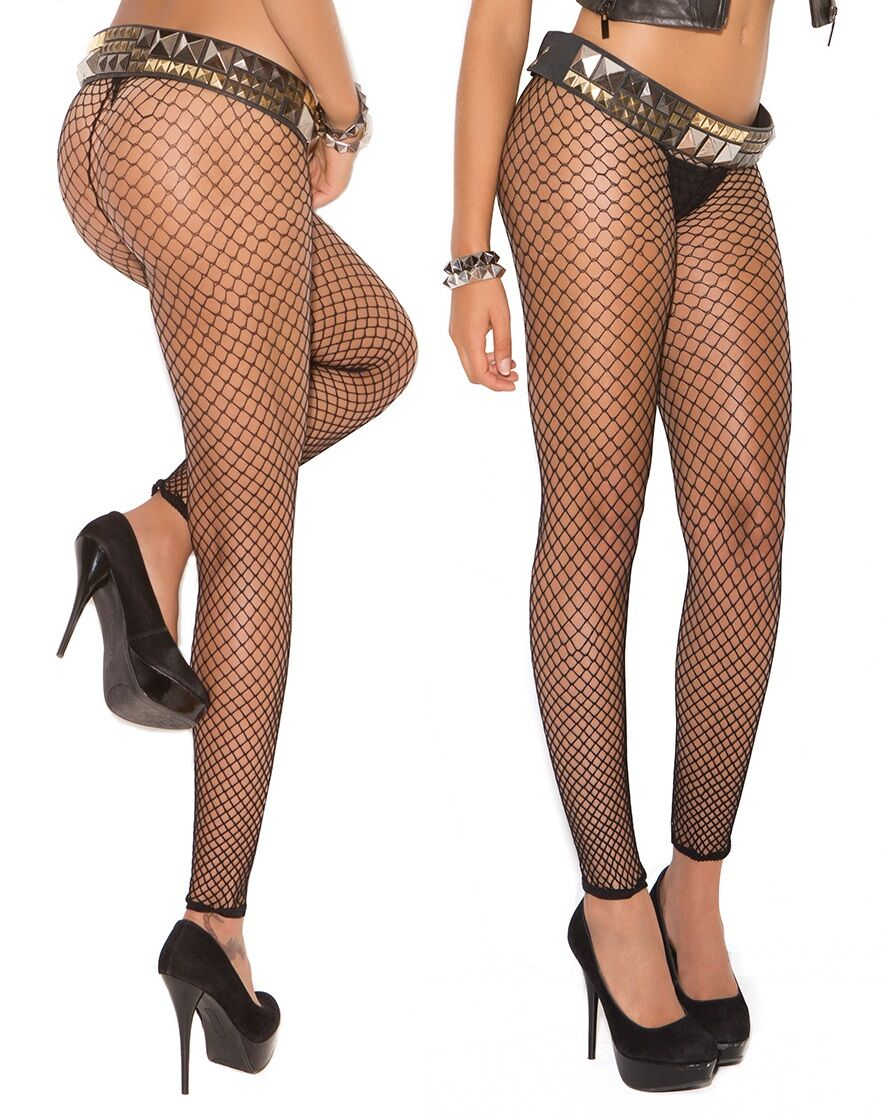 Black Fence Net Footless Tights
