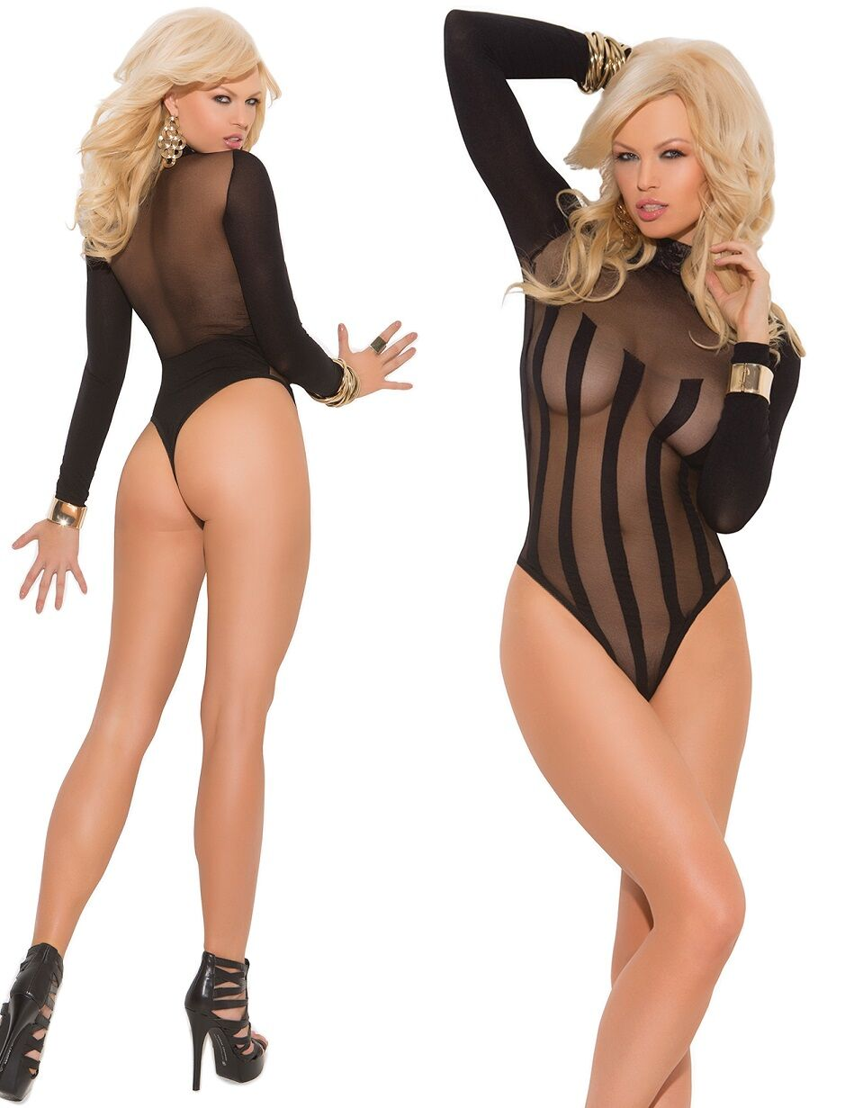 Long Sleeve Stripe Mesh Burnout Teddy