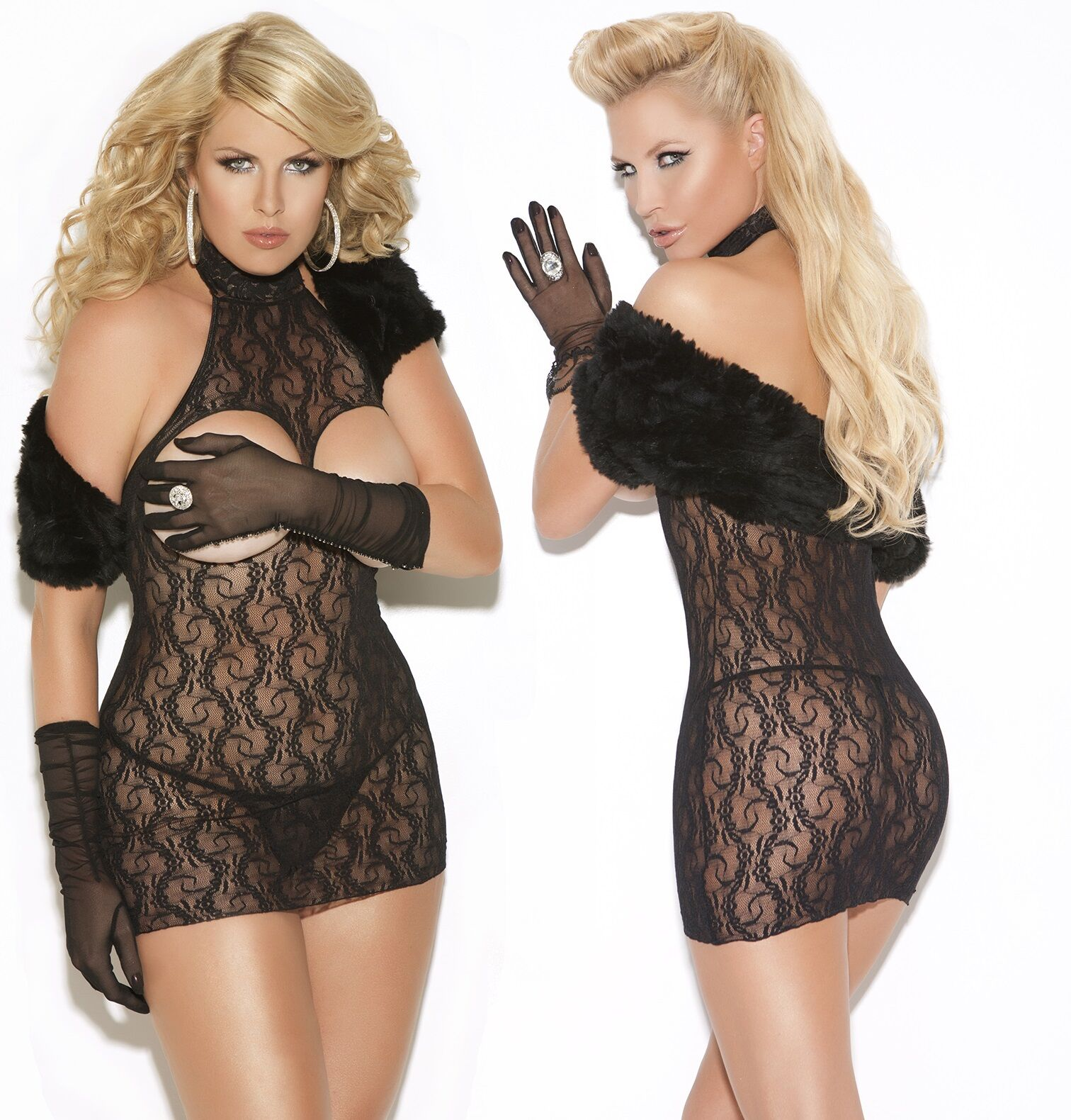 Black Cupless Floral Lace Mini Dress