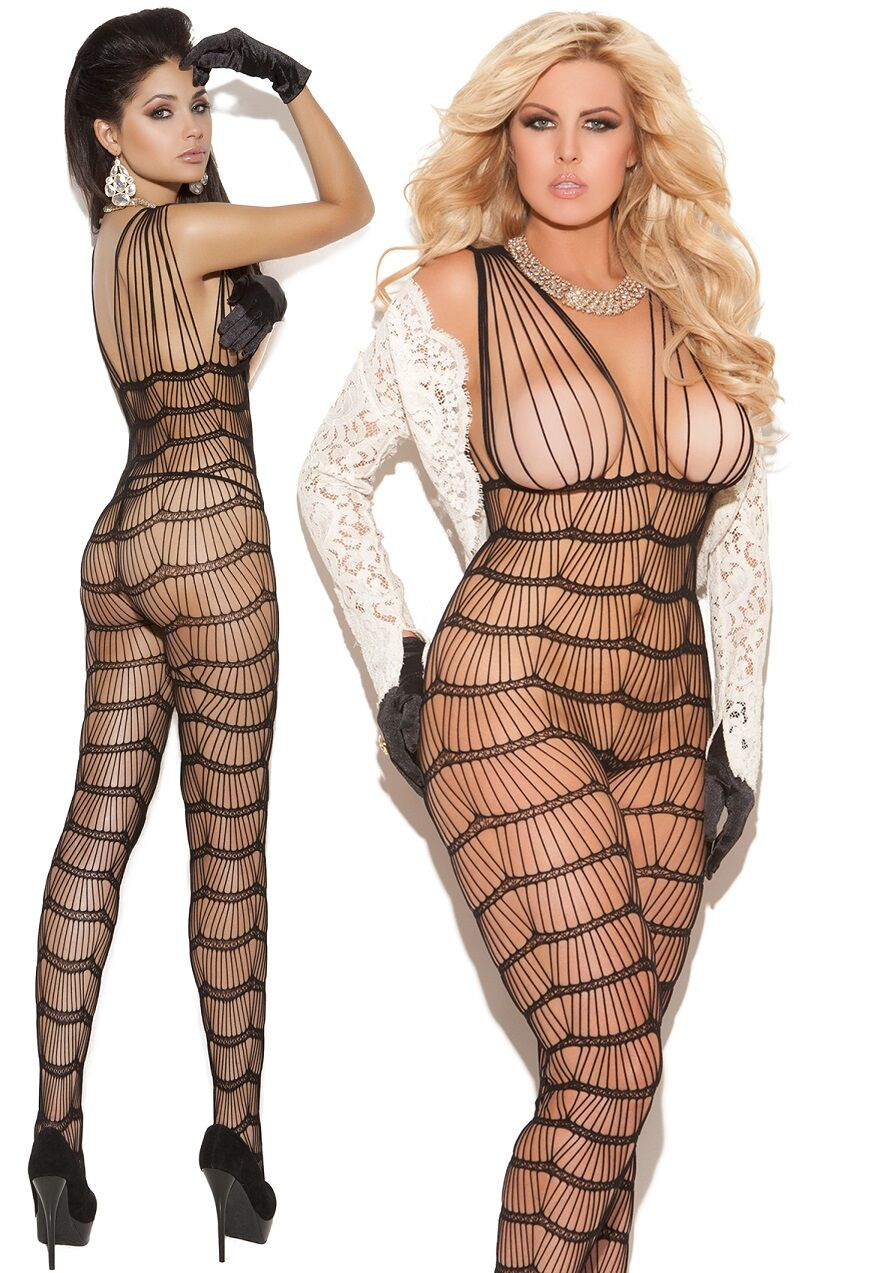Black Stripe Crotchless String Bodystocking