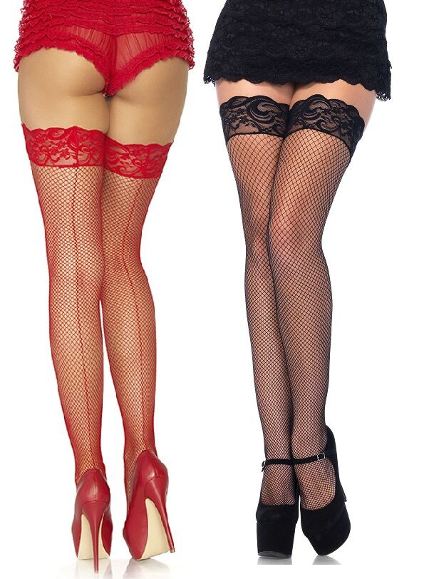 Fishnet Back Seam Lace Top Thigh High Hold-Ups