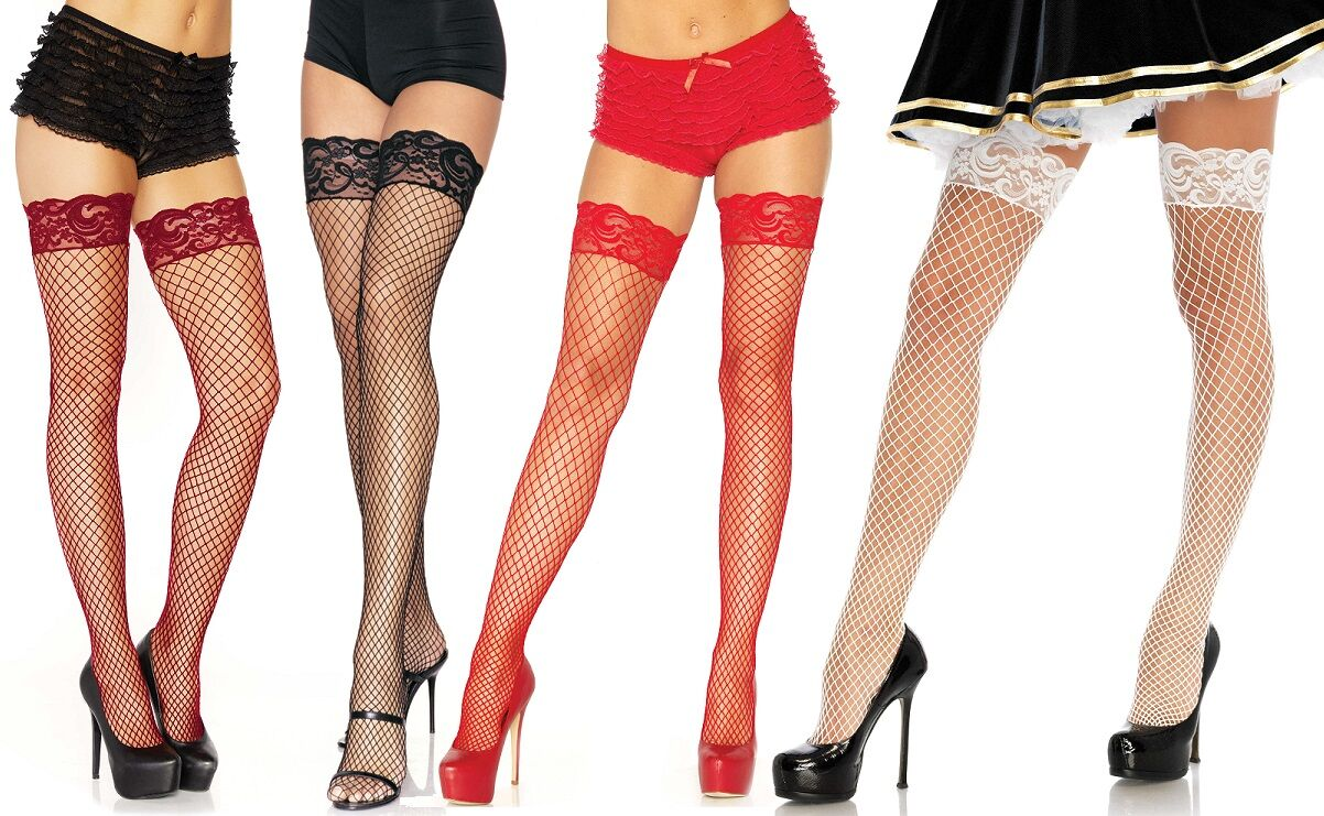 Industrial Net Lace Top Thigh High Hold Ups