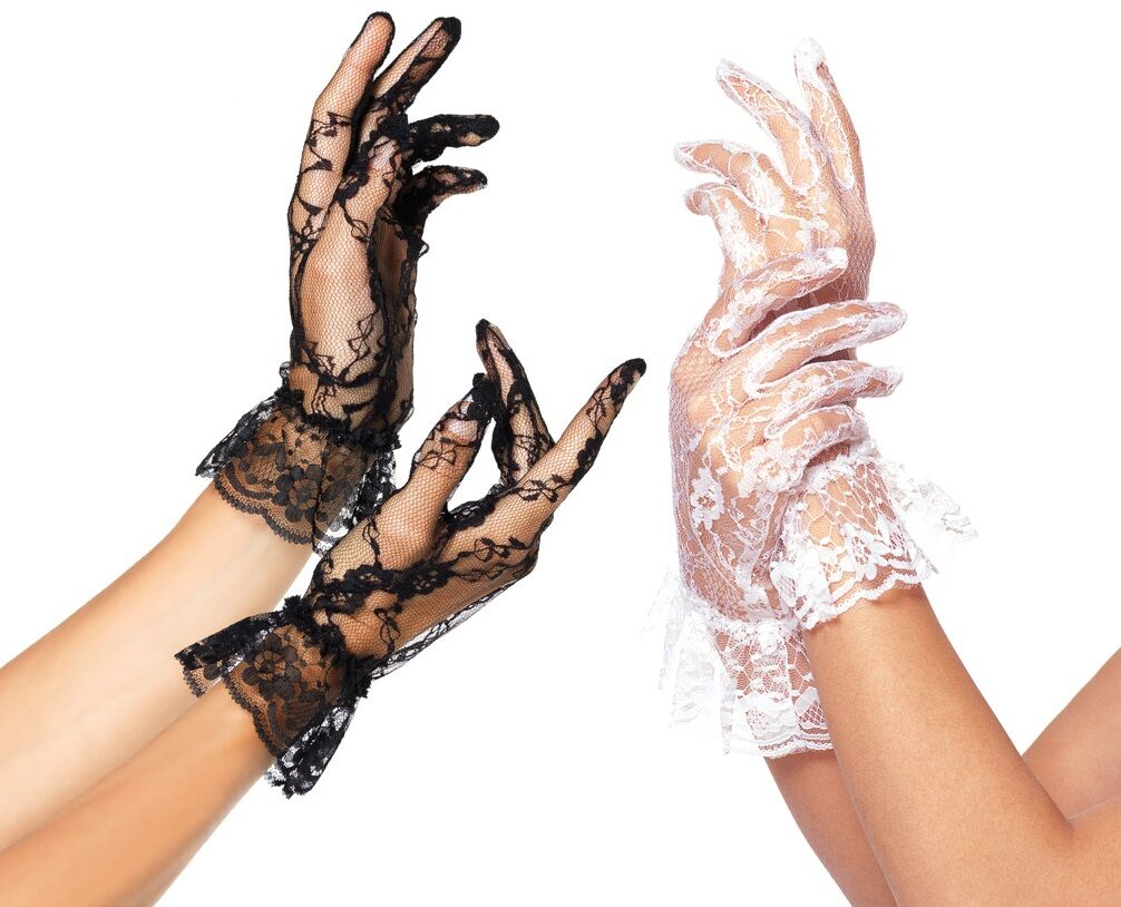 Wrist-Length Ruffle Lace Gloves