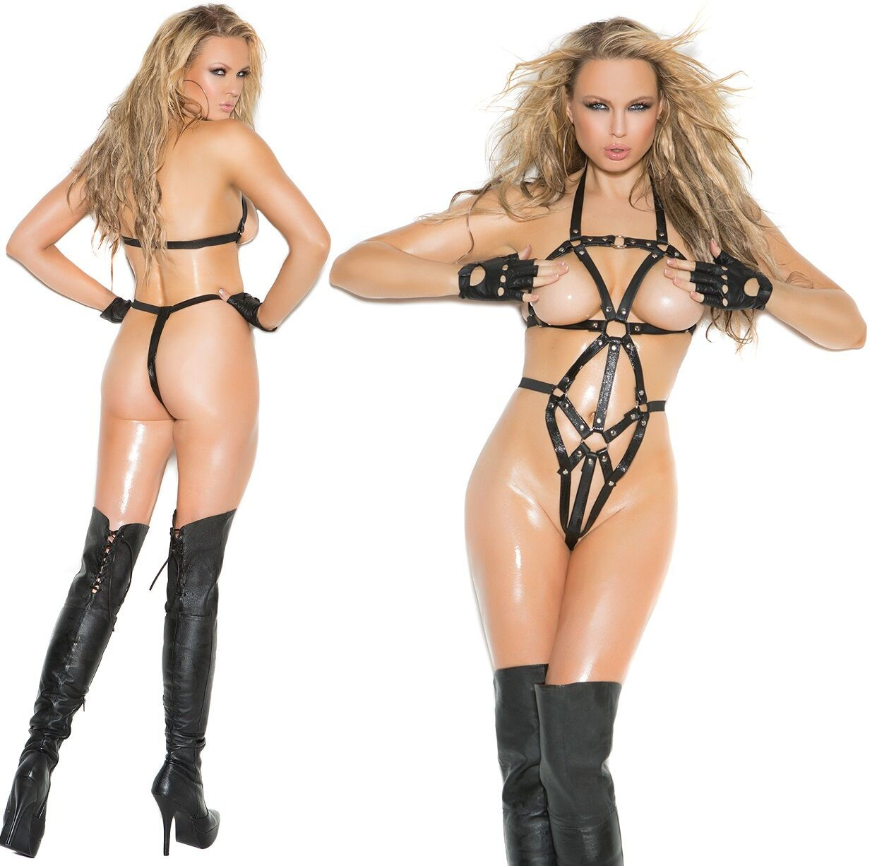 Thong Back O-Ring Leather Strappy Teddy