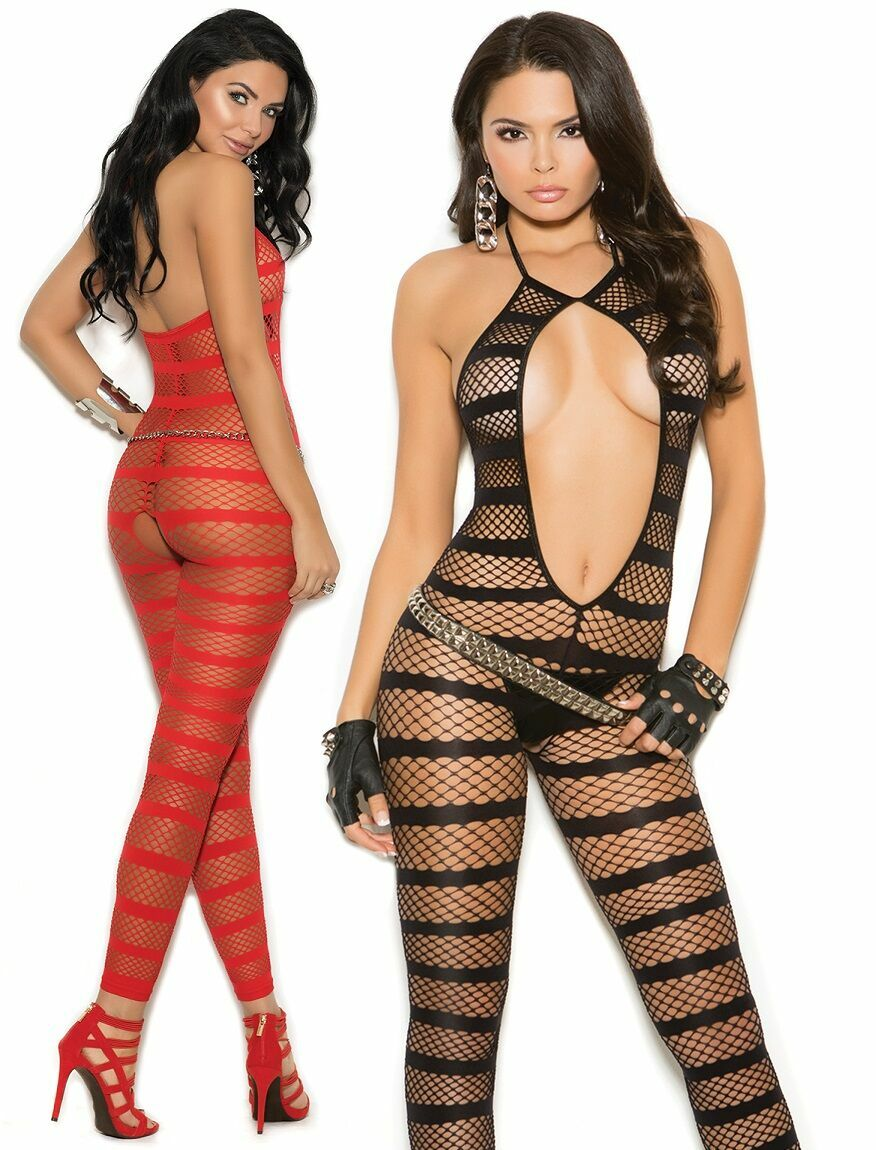 Diamond Net Striped Footless Bodystocking