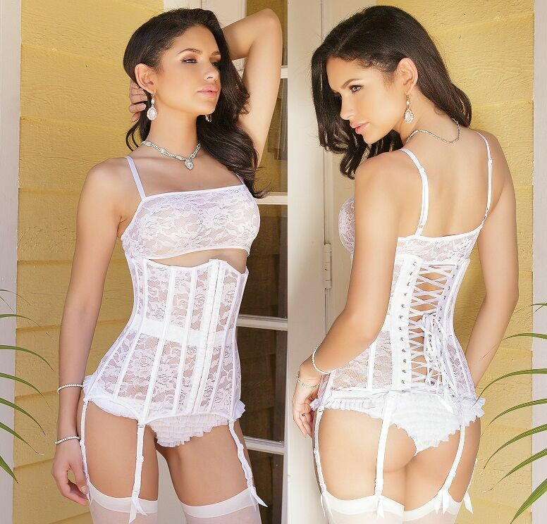 White Stretch Lace Bridal Waist Cincher