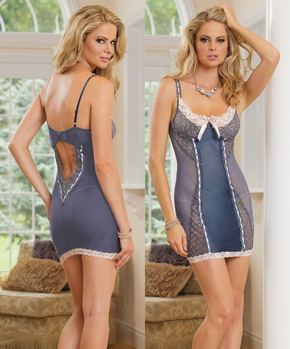 Blue Satin and Lace Powernet Underwire Chemise