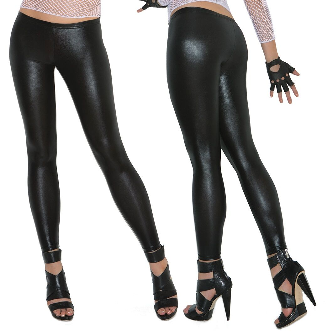 Black Liquid Leggings Shiny Figure-Hugging