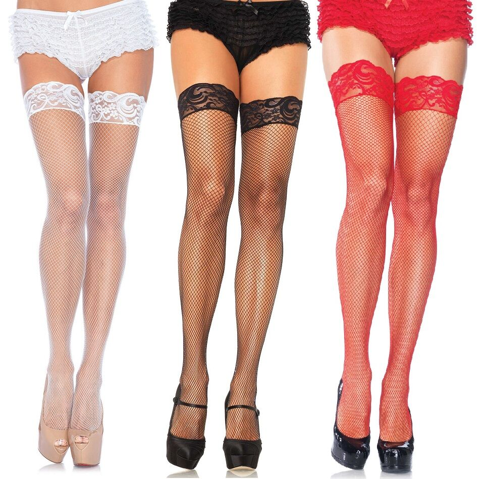 Fishnet Thigh High Hold-Ups with Lace Top