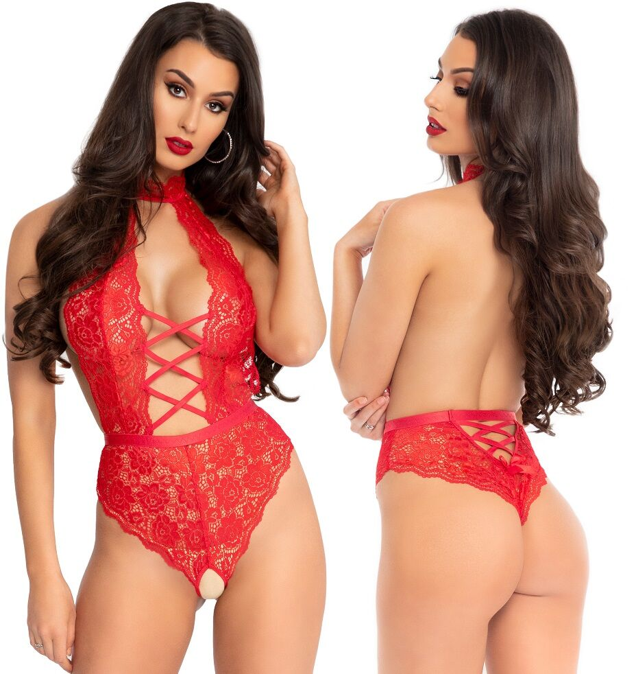 Red High Neck Floral Lace Backless Crotchless Teddy