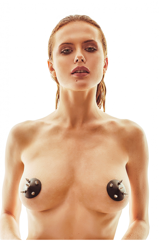 JESSA Faux Leather Nipple Pasties with Metal Studs