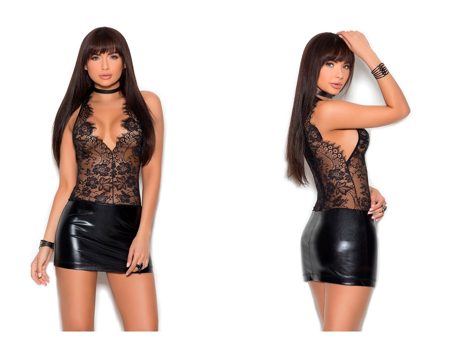 Black Eyelash Lace V-Neck Mini Dress with Wetlook Bottom-Half